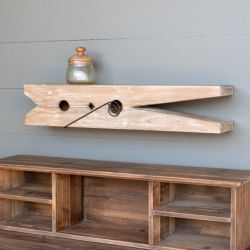 Wood Clothespin Wall Shelf 30