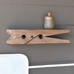 Wood Clothespin Wall Shelf 24