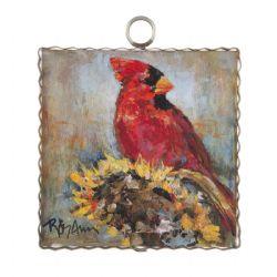 Mini Sunflower Cardinal Print