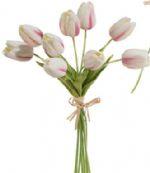 Real Touch Tulip Bundle (White W/Pink Stripe)