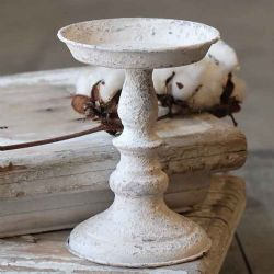 Chippy Farmhouse Creamy White Candle Holder 7.25