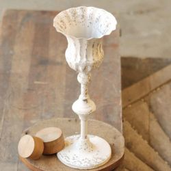 Chippy Farmhouse Creamy White Candle Holder/Fluted 13