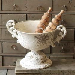 Chippy Farmhouse Creamy White Urn W/Handles