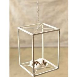 Chippy White Metal Lantern 14