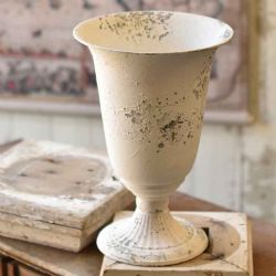 Chippy Farmhouse Creamy White Vase 13