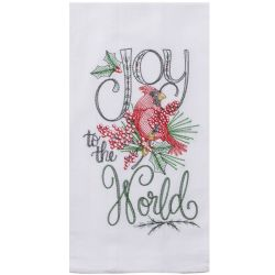 Holiday Cardinal Embroidered Tea Towel