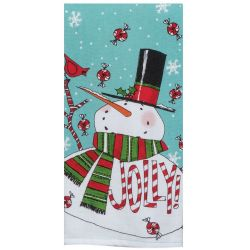 Holiday Jolly Snowman Tea Towel