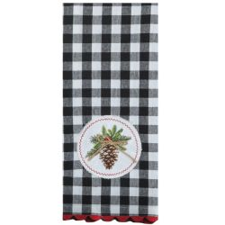 Holiday Pinecone Embroidered Tea Towel
