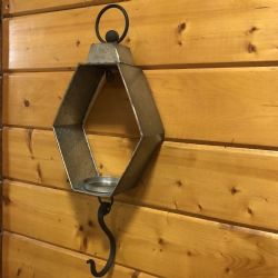 Lantern Galvanized Wall Lantern W/Hook
