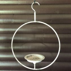 Chippy Farmhouse Creamy White Hoop Candle Holder
