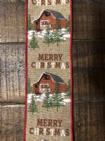 Ribbon Natural Linen/Christmas Barn 2.5