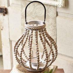 Lantern Beaded White-Washed | 13.75
