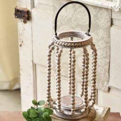 Lantern Beaded White-Washed | 14