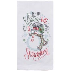 Meadow Snowman Embroidered Tea Towel