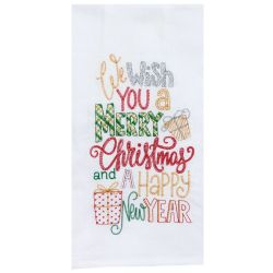 Merry Christmas Embroidered Tea Towel