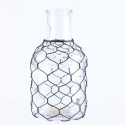 Vase Glass W/ Chicken Wire