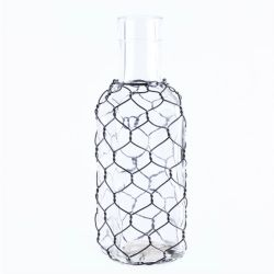 Vase Glass Sqr Long Neck W/ Chicken Wire