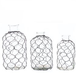 Vase Set/3 Glass W/Chicken Wire