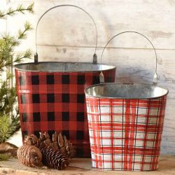 Plaid red Metal Wall Pockets