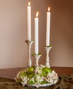 Triple Candle Plate-Aged Cream