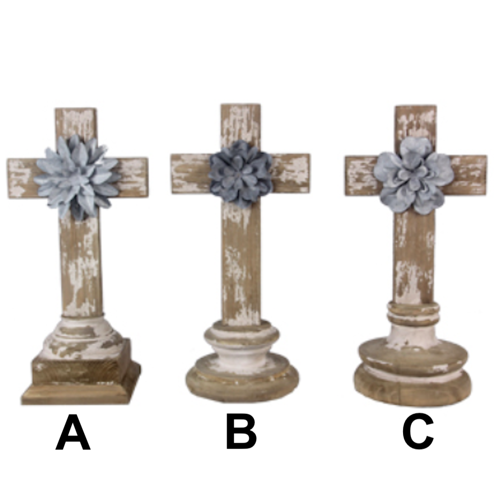 Wood Tabletop Cross with Tin Flowers