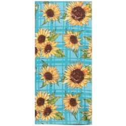 Sunflower Tea Towel with Blue Background