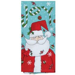 Twigs Holiday Joy Santa Tea Towel