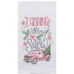 Twigs Holiday Truck Embroidered Tea Towel