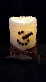 Rustic Country Snowman Wax Pillar 4