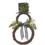Buffalo Check Snowman Wreath