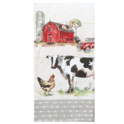 cow and chicken tea towel