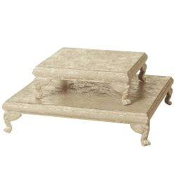 Tray/Riser Square Distressed Cream