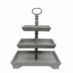 Tray 3 Tier Wood (Grey)