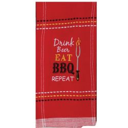 drink beer eat bbq repeat tea towel