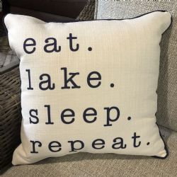 eat sleep lake repeat pillow
