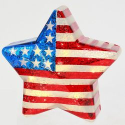 Americana Light Up Glass Star 10.75