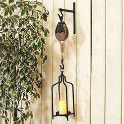 Hanging Glass Lantern W/Wood Pulley Wall Mounted