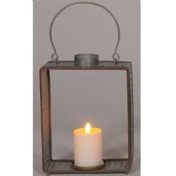 Lantern Galvanized Tall Rectangle