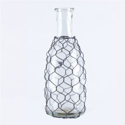Vase Glass Long Neck W/Chicken Wire