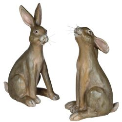 Sitting Bunny Figures | Set of 2