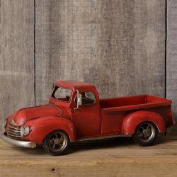 red vintage metal truck