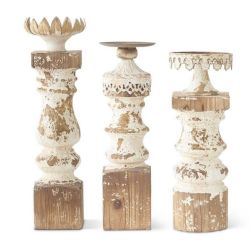Vintage Distressed Wood Candle Holders Set/3