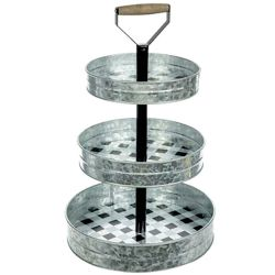 Tray Galvanized Black & White Plaid 3 Tier